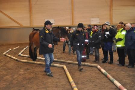 Alice leder sin häst som är mycket följsam. Lars-Åke är alltid lika intressant att lyssna på. Bra övningar som man har stor nytta av i unghästutbildning.