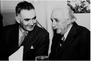 Albert Einstein tillsammans med Eliahu Elath, Israels dåvarande ambassadör till USA och senare rektor vid Hebreiska Universitetet (1950). Foto: Edward H. Zwerin                             (med tillstånd av The Albert Einstein Archives, The Hebrew University of Jerusalem, Israel).
