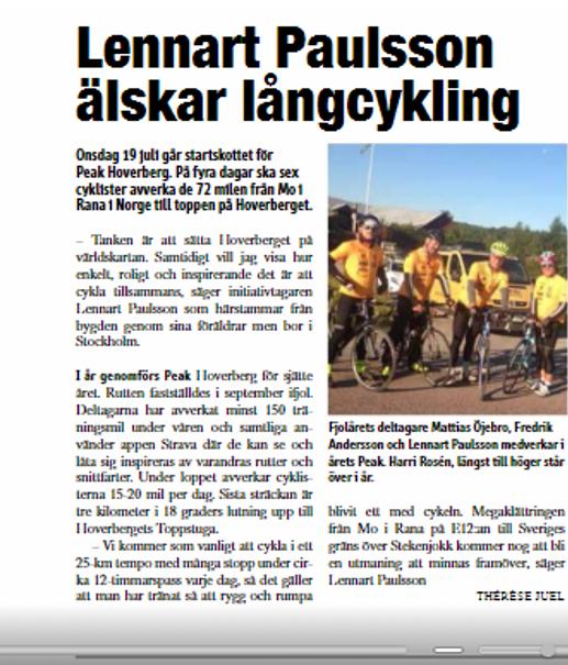 Artikel Jämtlands Tidning juli 2017