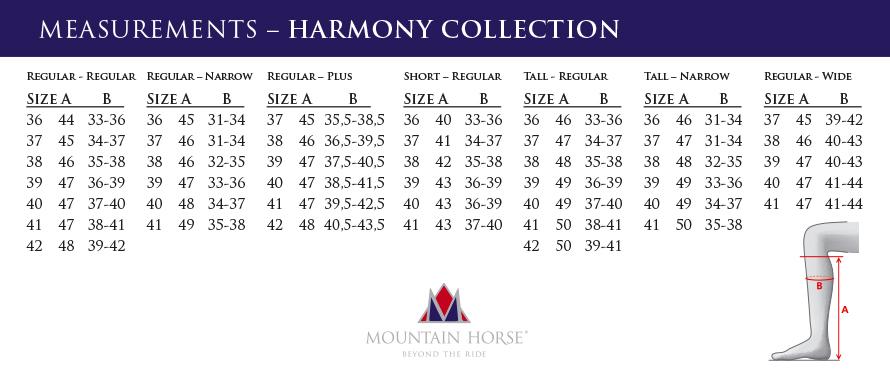 mountain-horse-harmony-size-chart