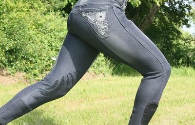 HRS jeans knäskodd, grå