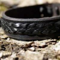 Flätat armband svart/svart - 15 centimeter