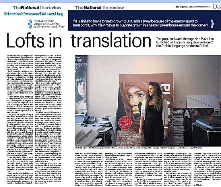 Christopher Östlund i intervju i Förenade Arabemiraten/Abu Dhabis största dagstidning The National