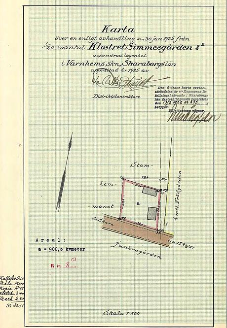 A. 36 (karta 1) Endast digital bild! Avstyckningen från Simmesgården av Knut och Emelia Ohlssons köp av Runhem 1925 med inplacering av hus och verkstad på kartan. De betalade 1 350 kr för tomten. Vid samma tid köper de också ett skifte av Trädgårdens del av Billingeliderna i Ljungstorp - se karta nedan! 1927 köpte Knut och Emelia till ytterligare ett område runt deras redan inköpta tomt - en fem meters remsa i öster och norr och på så sätt tillförs ytterligare 330 kvadratmeter till fastigheten.Insatt av Kent Friman, 2014-02-24. Läs mer på www.saj-banan.se! Lantmäteriet Historiska Kartor