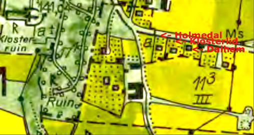 Klosterlid 12:13 hamnar väster om Dalhem 12:12 och senare Holmedal. Lantmäteriet Historiska Kartor 1960 års karta