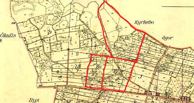 Pickagårdens 3 delar  1853 markerade med rött - klicka på kartan för att se den större!