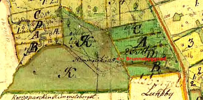 Karta 1751 med påskrift 1790! Med Himmelskällan utmärkt med namn, byggnad och en kraftigt markerad väg från landsvägen! Fyra åboer (boende) ger fyra delar av varje marktyp vid Storskifte påskrivet!