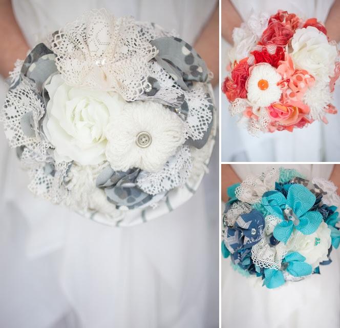 Brudbukett i tyg EcoBride Inspiration för ekologiska bröllop