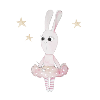 Wall stickers - Little ballerina bunny - 15cm