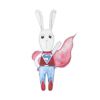 Wall stickers - Super bunny boy - 15cm