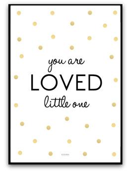 You are loved little one - Guld/svart A4 matt foto papper