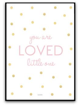You are loved little one - Rosa/guld A4 matt fotopapper