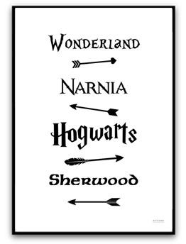 Poster- Fairy Tale Road Sign - A4 matt fotopapper, svart text