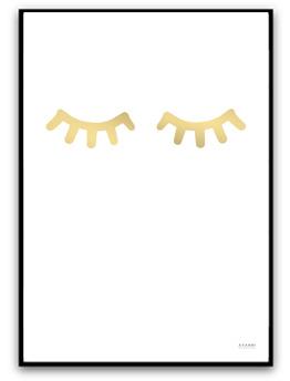 Poster - Sleepy eyes - Guld A4 matt fotopapper