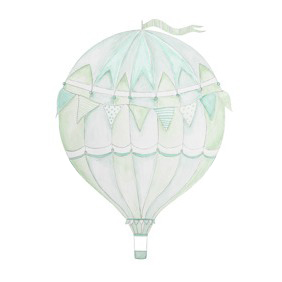Wall stickers - Green air balloon - 15cm