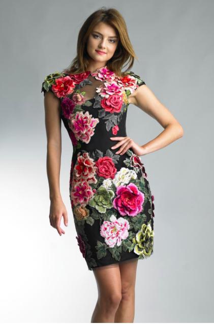 Basix Black Label Flower Embroidered Velvet Dress Front D7727A