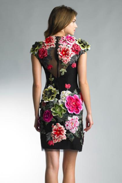 Basix Black Label Flower Embroidered Velvet Dress Back D7727A