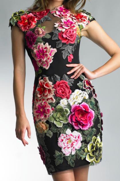 Basix Black Label Flower Embroidered Velvet Dress Details D7727A