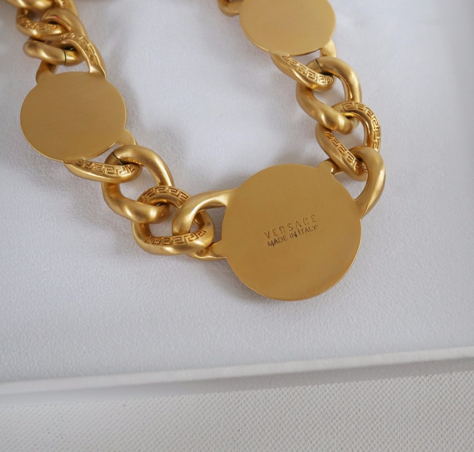Versace Iconic 3 Medusa medallions chain necklace_5