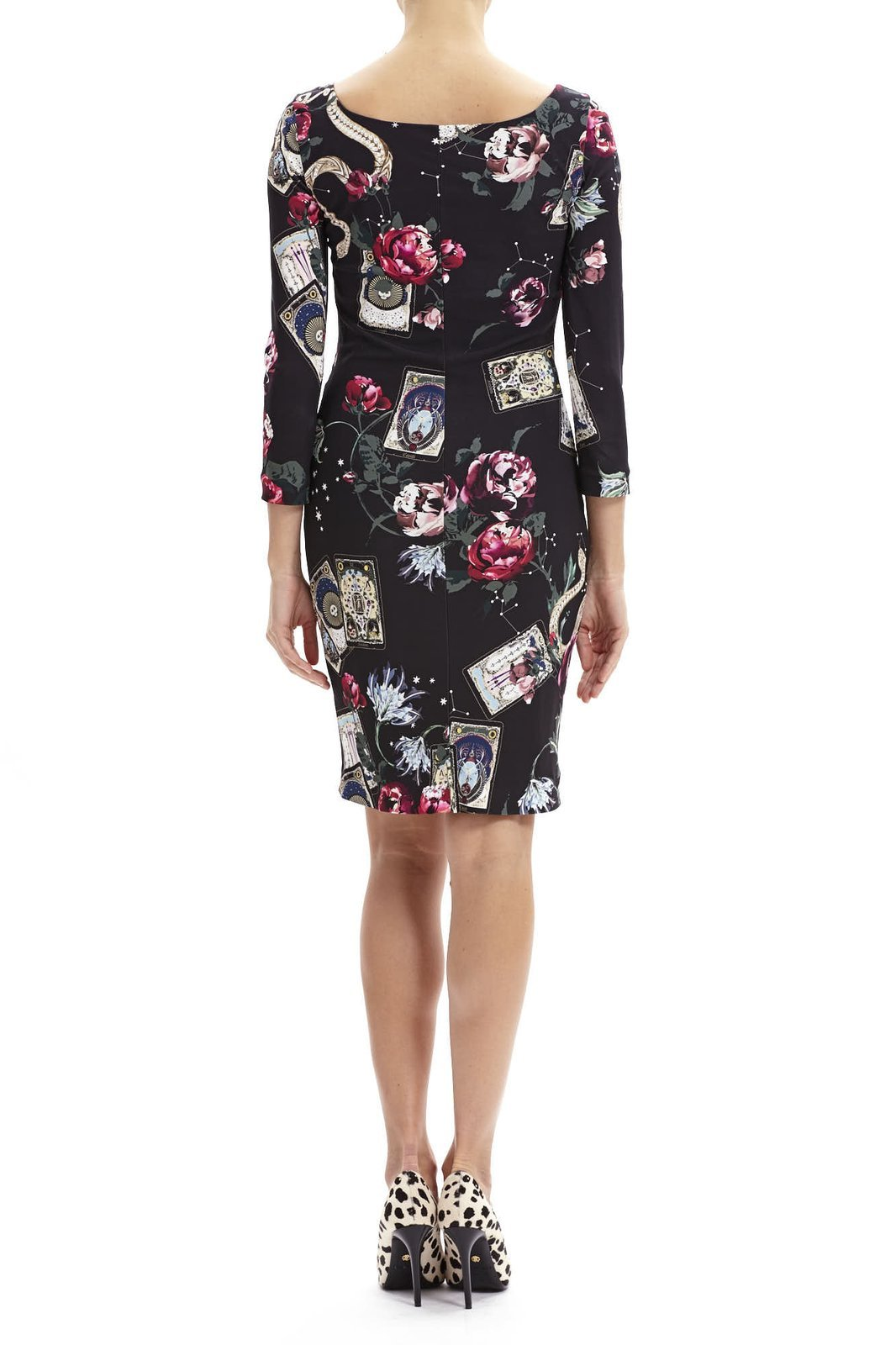 Roberto Cavalli Cards Printed Long-sleeved Dress_2
