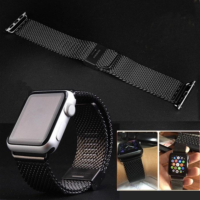 svart milanese armband till apple watch 42mm uffes saker. Black Bedroom Furniture Sets. Home Design Ideas