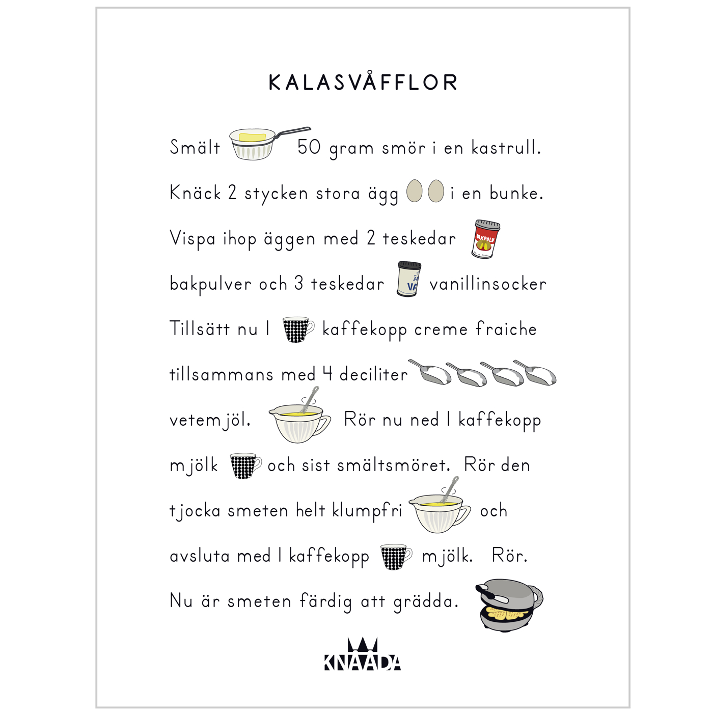 Recept Våfflor - poster - Kökstavla