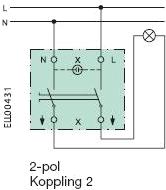 Koppla strömbrytare 2 knappar