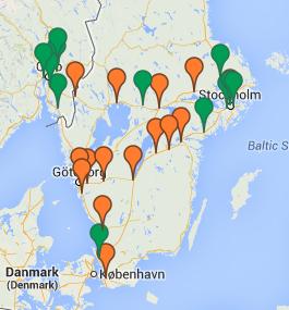 Fortums karta för snabbladdare