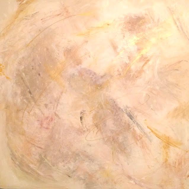 Förändringen - 100 x 100 cm akryl och äkta bladguld på duk