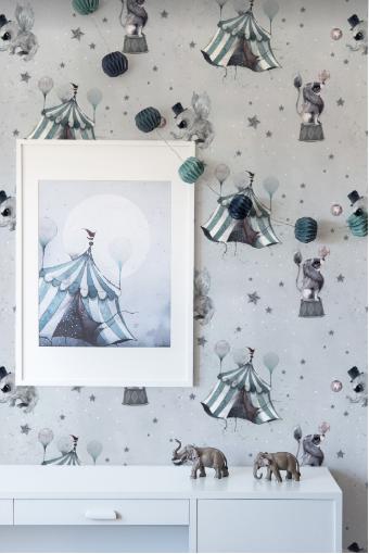 Circus mighetto wallpaper grey
