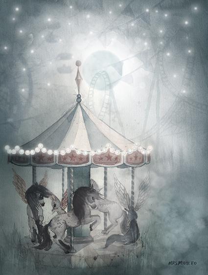 72 night carousell 18x24