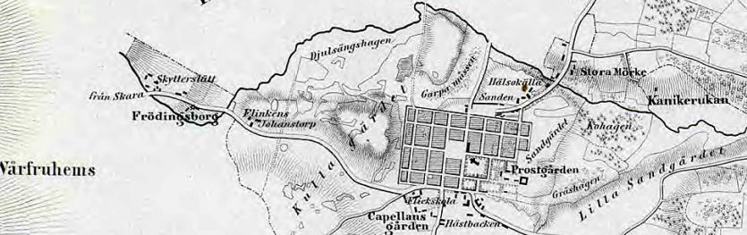Karta med stadsägan 1641 som måste ha varit viktig för Skövde stad med både vatten och kvarnverksamhet vid Frödingsborg (Frödingsberg). Vägen till Varnhem - Skara tog den här vägen. (Lantmäteriet Hist