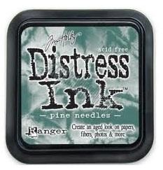 Distress ink pine needles