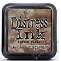 Distress ink frayed burlap