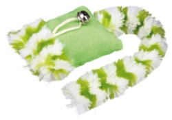 Kattleksak plyschkudde m svans & skallra 20 cm - plyschkudde  grön