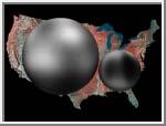 Pluto med Månen Charon i storleksjämförelse med USA