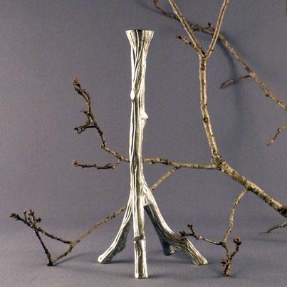 Ljusstake Trädgren Aluminium 28 cm