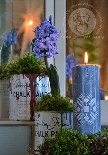 Måla med Annie Sloan Chalk Paint™ på stearinljus.
