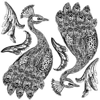 IOD Dekorstämpel Pavo påfågel, 2 ark