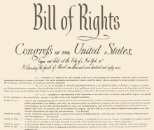 The Bill of Rights of the US Constitution protects basic freedoms of United States citizens.
