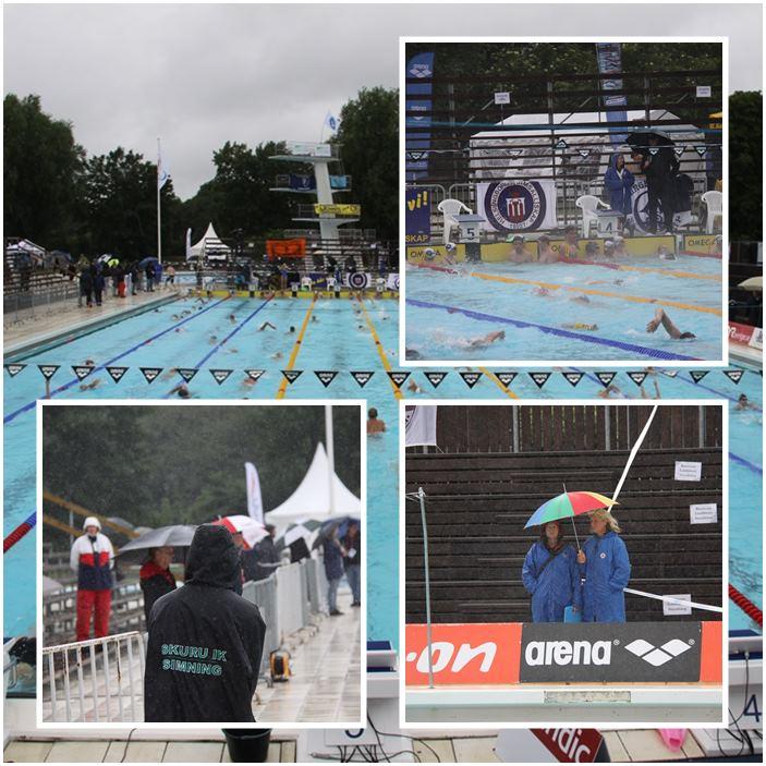 Det var inte det bästa vädret när insimningen skulle starta vid lördagens finaler i Landskrona.