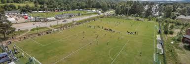 """Flygfoto över """"Lilla Wembley"""" i samband med Lilla VM. Foto: Matfors IF."""
