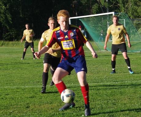 Linus Stafrin gjorde två av Selångers mål i premiären mot Indal. Arkivbild: Pia Skogman, Lokalfotbollen.nu.