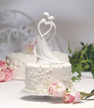 Brud och brudgum cake top hel porslin