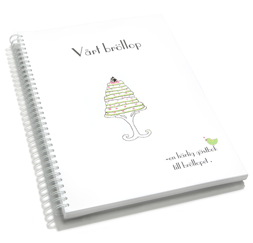 gästbok bröllopstårta