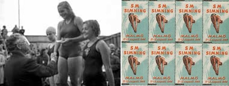 Erik Bergvall delar ut priser på SM-1944 och vid SM i simning 1944 fanns också speciella brevmärken som man kunde klista på som tillägg på vykort