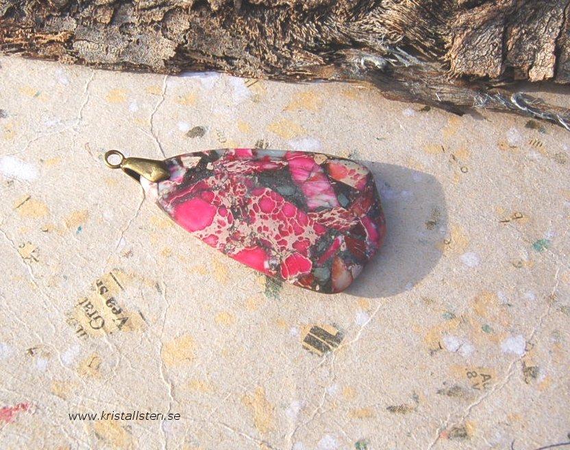 Jasps sten med topphål50x28mm 2