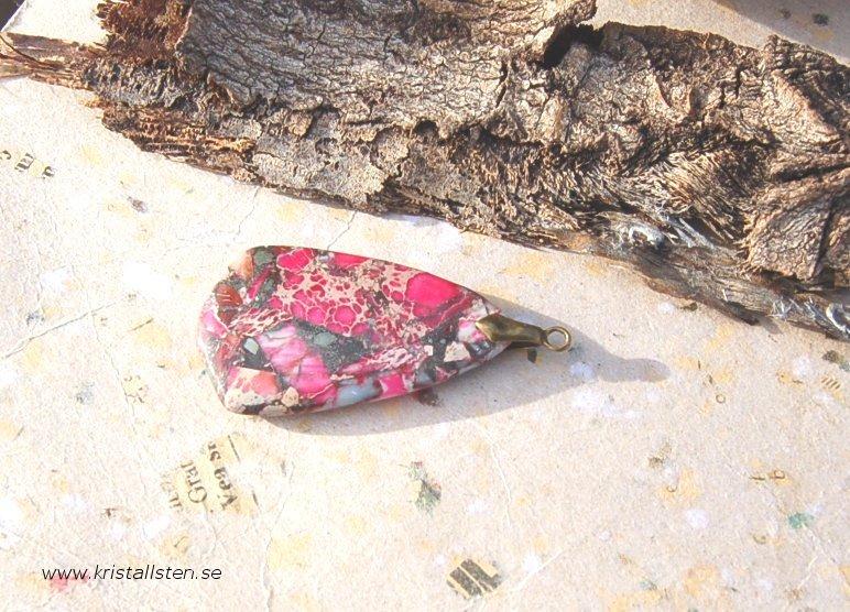 Jasps sten med topphål50x28mm
