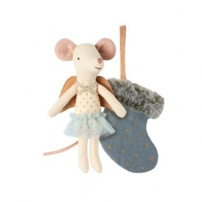 Maileg Mouse Angel With Stocking ( Blue ) - Maileg Mouse Angel With Stocking ( Blue )