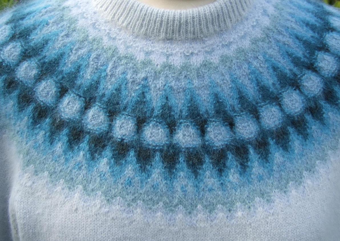 Bohus Stickning Blå Blomman pullover cardigan kit
